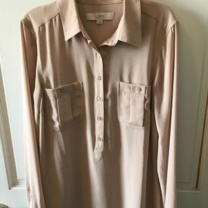 LOFT Nude Button Down Blouse XS